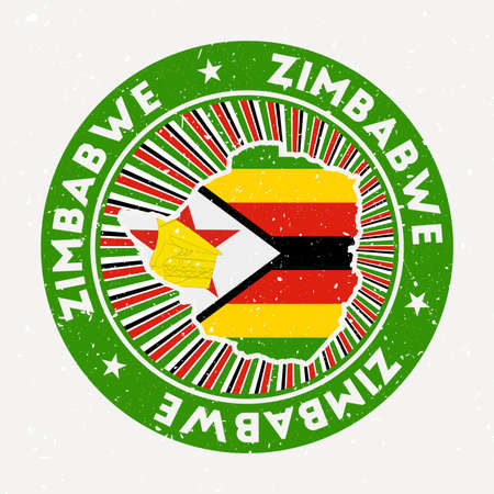 Zimbabwe round stamp. Design of country with flag. Vintage badge with circular text and stars, vector illustration.