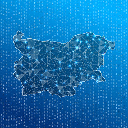 Network map of Bulgaria. Country digital connections map. Technology, internet, network, telecommunication concept. Vector illustration.