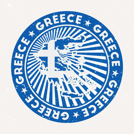 Greece round stamp. Design of country with flag. Vintage badge with circular text and stars, vector illustration.
