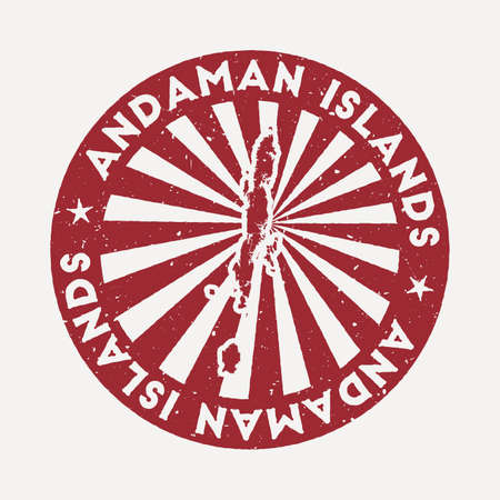 Andaman Islands stamp. Travel red rubber stamp with the map of island, vector illustration. Can be used as insignia, logotype, label, sticker or badge of the Andaman Islands.