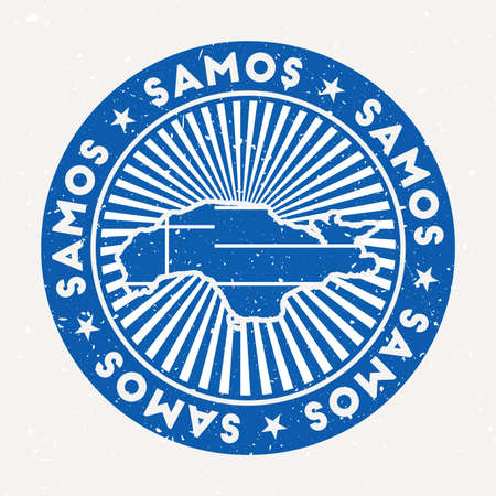 Samos round stamp. Design of island with flag. Vintage badge with circular text and stars, vector illustration.