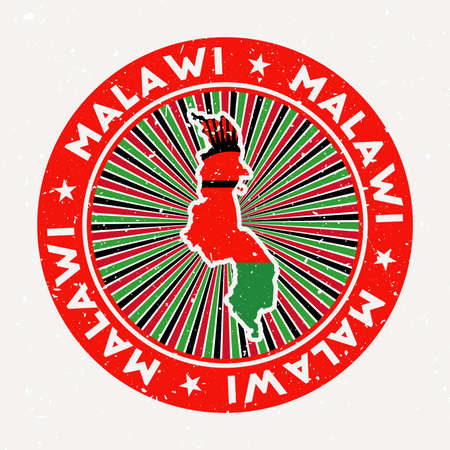 Malawi round stamp. Design of country with flag. Vintage badge with circular text and stars, vector illustration.