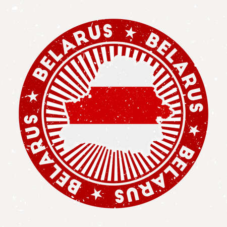 Belarus round stamp. Design of country with flag. Vintage badge with circular text and stars, vector illustration.