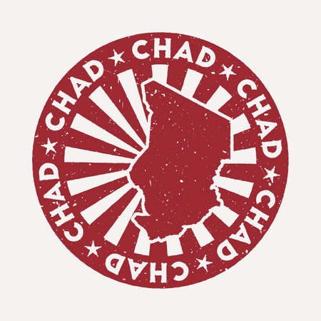 Chad stamp. Travel red rubber stamp with the map of country, vector illustration. Can be used as insignia, logotype, label, sticker or badge of the Chad.