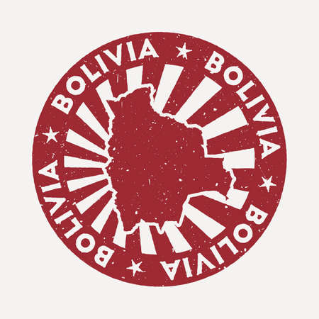Bolivia stamp. Travel red rubber stamp with the map of country, vector illustration. Can be used as insignia, logotype, label, sticker or badge of the Bolivia.