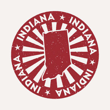 Indiana stamp. Travel red rubber stamp with the map of us state, vector illustration. Can be used as insignia, logotype, label, sticker or badge of the Indiana.