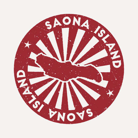 Saona Island stamp. Travel red rubber stamp with the map of island, vector illustration. Can be used as insignia, logotype, label, sticker or badge of the Saona Island.