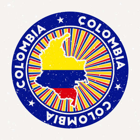 Colombia round stamp. Design of country with flag. Vintage badge with circular text and stars, vector illustration. Vectores