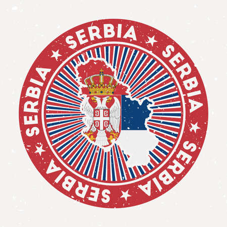 Serbia round stamp. Logo of country with flag. Vintage badge with circular text and stars, vector illustration. Vectores