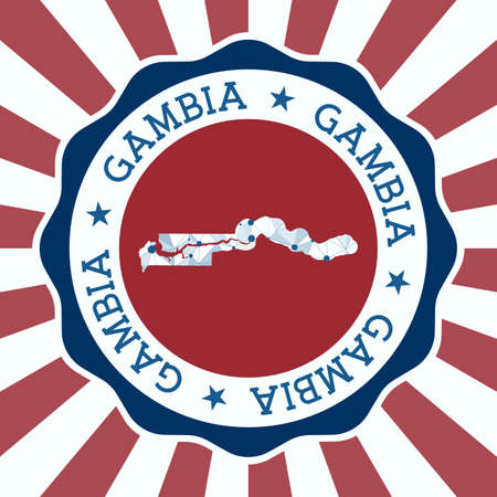 Gambia Badge. Round logo of country with triangular mesh map and radial rays. EPS10 Vector.