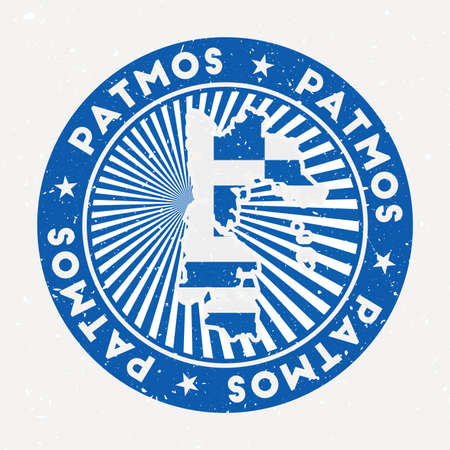 Patmos round stamp. Logo of island with flag. Vintage badge with circular text and stars, vector illustration.