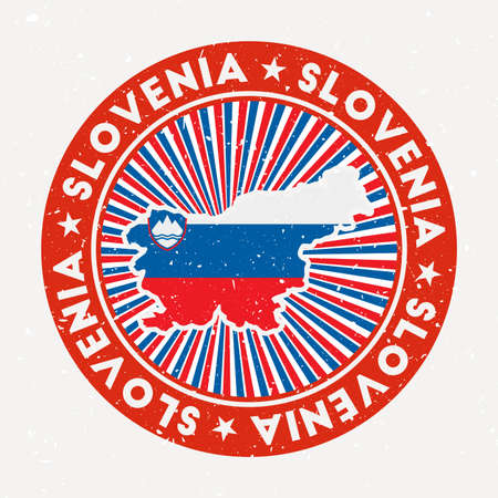 Slovenia round stamp. Logo of country with flag. Vintage badge with circular text and stars, vector illustration.
