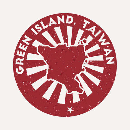 Green Island, Taiwan stamp. Travel red rubber stamp with the map of island, vector illustration. Can be used as insignia, logotype, label, sticker or badge of the Green Island, Taiwan. Vectores