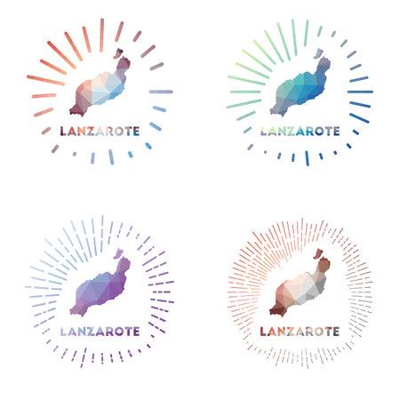 Lanzarote low poly sunburst set. Logo of island in geometric polygonal style. Vector illustration. Vectores