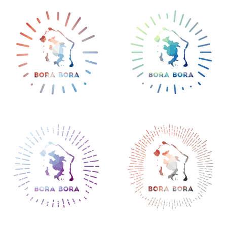 Bora Bora low poly sunburst set. Logo of island in geometric polygonal style. Vector illustration.