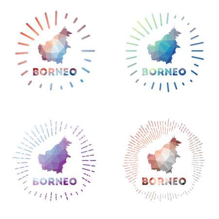 Borneo low poly sunburst set. Logo of island in geometric polygonal style. Vector illustration. Vectores