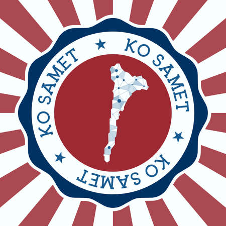 Ko Samet Badge. Round logo of island with triangular mesh map and radial rays. EPS10 Vector.