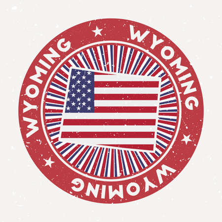 Wyoming round stamp. Logo of us state with flag. Vintage badge with circular text and stars, vector illustration.