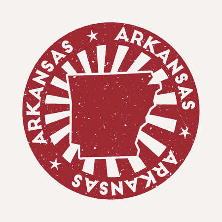 Arkansas stamp. Travel red rubber stamp with the map of us state, vector illustration. Can be used as insignia, logotype, label, sticker or badge of the Arkansas.