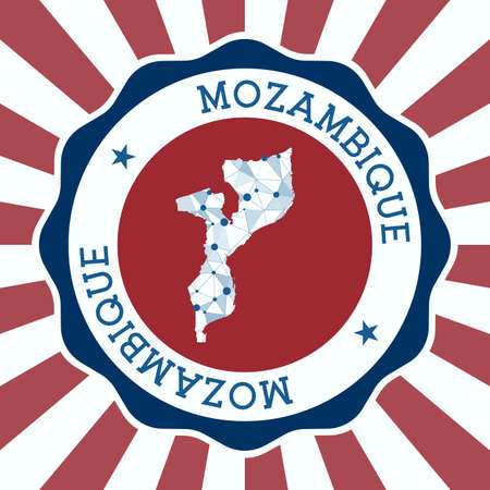 Mozambique Badge. Round logo of country with triangular mesh map and radial rays. EPS10 Vector. Vectores