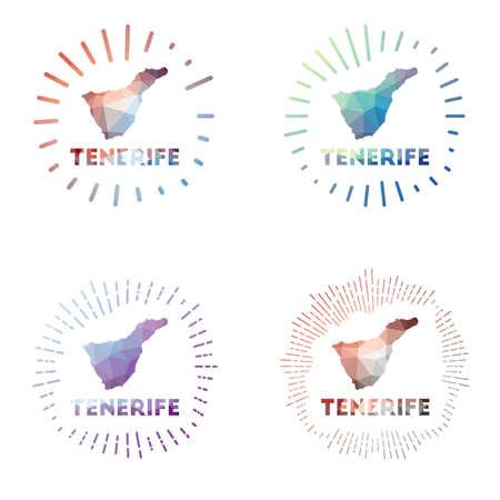 Tenerife low poly sunburst set. Logo of island in geometric polygonal style. Vector illustration.