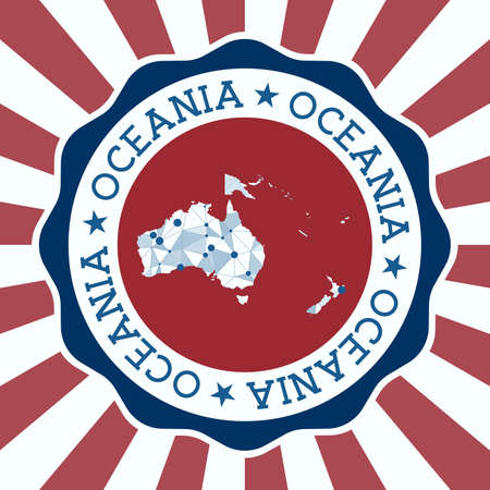 Oceania Badge. Round logo of continent with triangular mesh map and radial rays. EPS10 Vector.