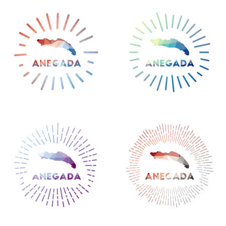 Anegada low poly sunburst set. Logo of island in geometric polygonal style. Vector illustration.