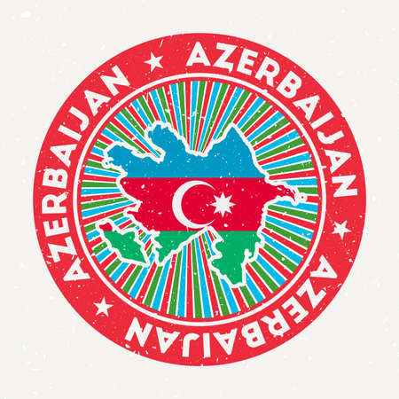 Azerbaijan round stamp. Logo of country with flag. Vintage badge with circular text and stars, vector illustration.