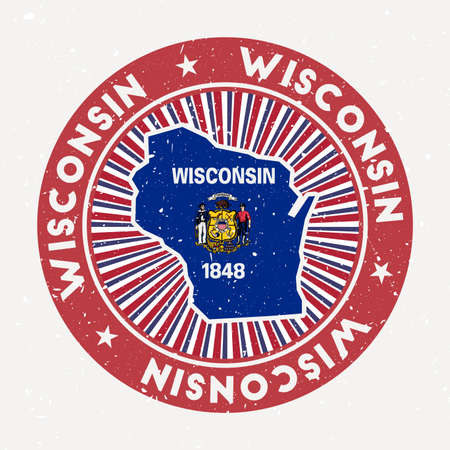 Wisconsin round stamp. Logo of us state with state flag. Vintage badge with circular text and stars, vector illustration. Vectores
