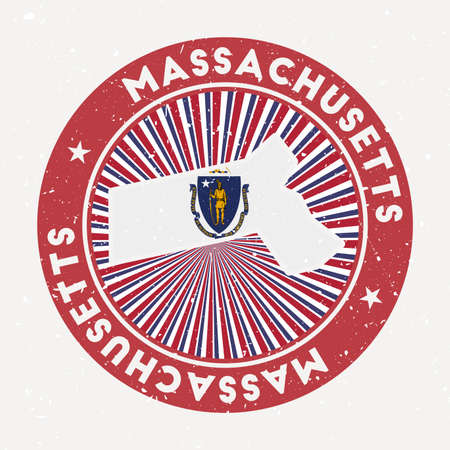 Massachusetts round stamp. Logo of us state with state flag. Vintage badge with circular text and stars, vector illustration.