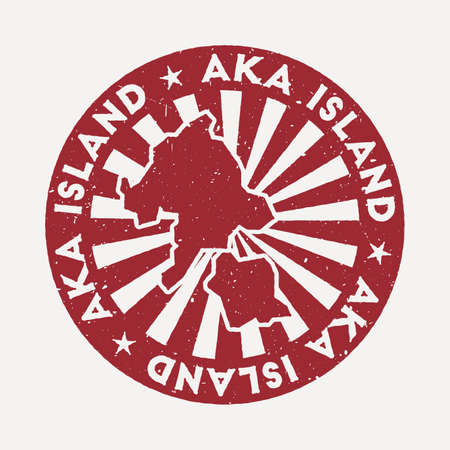 Aka Island stamp. Travel red rubber stamp with the map of island, vector illustration. Can be used as insignia, logotype, label, sticker or badge of the Aka Island. Vectores