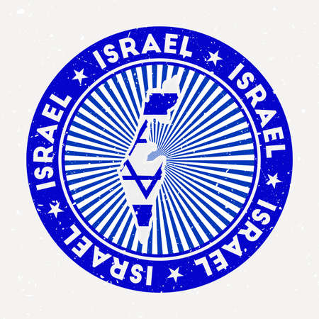 Israel round stamp. Logo of country with flag. Vintage badge with circular text and stars, vector illustration. Vectores