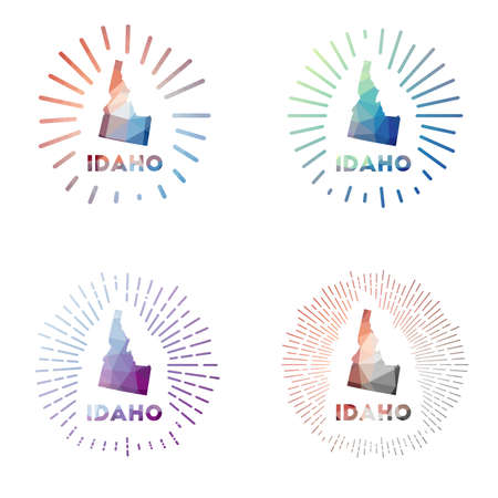 Idaho low poly sunburst set. Logo of us state in geometric polygonal style. Vector illustration.