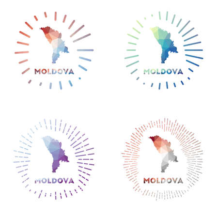 Moldova low poly sunburst set. Logo of country in geometric polygonal style. Vector illustration. Vectores