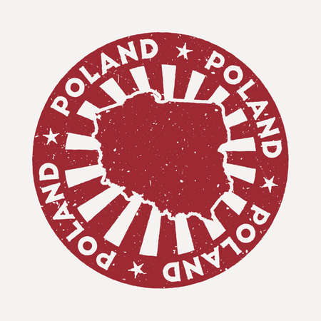 Poland stamp. Travel red rubber stamp with the map of country, vector illustration. Can be used as insignia, logotype, label, sticker or badge of the Poland. Logó