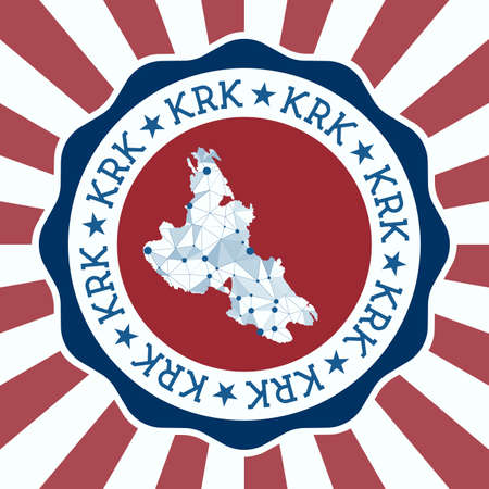 Krk Badge. Round design of island with triangular mesh map and radial rays.