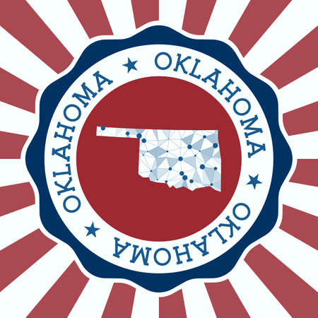 Oklahoma Badge. Round design of us state with triangular mesh map and radial rays.