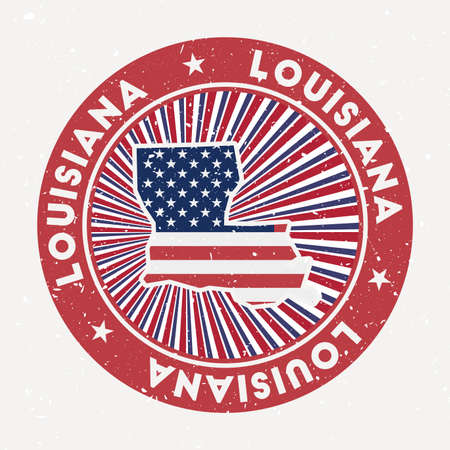 Louisiana round stamp. design of us state with flag. Vintage badge with circular text and stars, vector illustration.