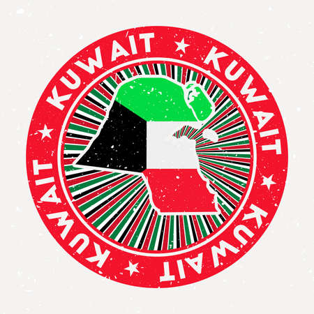 Kuwait round stamp. design of country with flag. Vintage badge with circular text and stars, vector illustration. Ilustracja