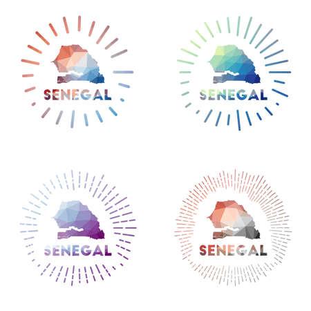 Senegal low poly sunburst set. design of country in geometric polygonal style. Vector illustration.