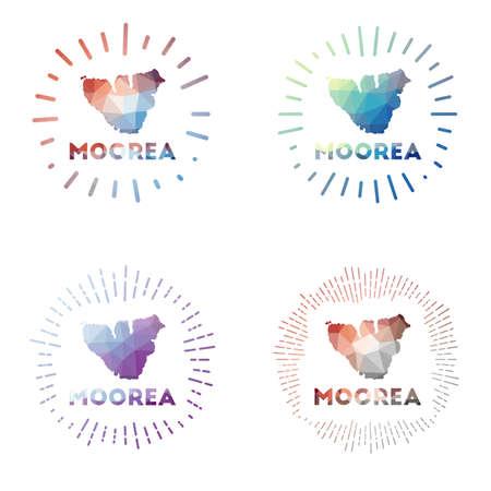 Moorea low poly sunburst set. design of island in geometric polygonal style. Vector illustration.