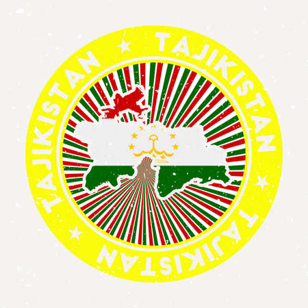 Tajikistan round stamp. design of country with flag. Vintage badge with circular text and stars, vector illustration.