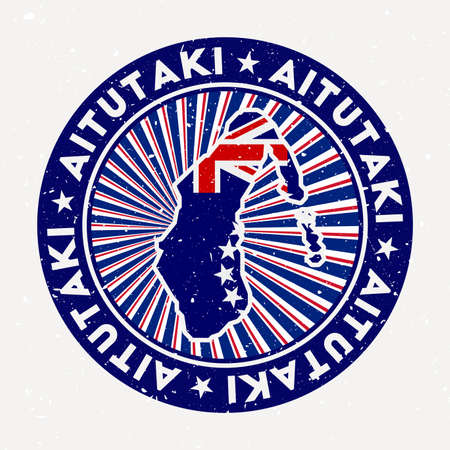 Aitutaki round stamp. design of island with flag. Vintage badge with circular text and stars, vector illustration.