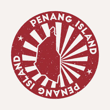 Penang Island stamp. Travel red rubber stamp with border shape, vector illustration. Can be used as insignia, logotype, label, sticker or badge of the Penang Island.