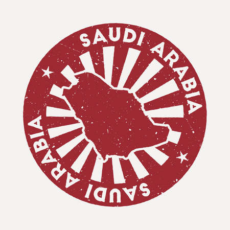 Saudi Arabia stamp. Travel red rubber stamp with the map of country, vector illustration. Can be used as insignia, logotype, label, sticker or badge of the Saudi Arabia.