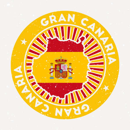 Gran Canaria round stamp. design of island with flag. Vintage badge with circular text and stars, vector illustration. Ilustracja
