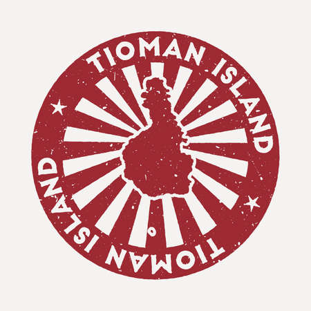 Tioman Island stamp. Travel red rubber stamp with border shape, vector illustration. Can be used as insignia, logotype, label, sticker or badge of the Tioman Island.