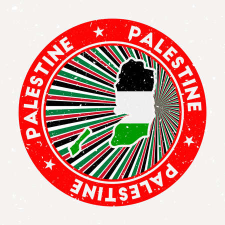 Palestine round stamp. design of country with flag. Vintage badge with circular text and stars, vector illustration.