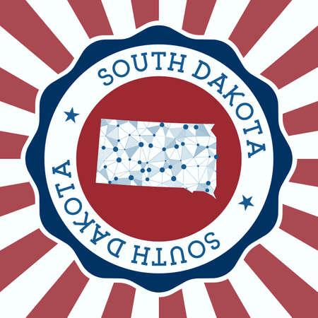 South Dakota Badge. Round design of us state with triangular mesh map and radial rays. Ilustracja