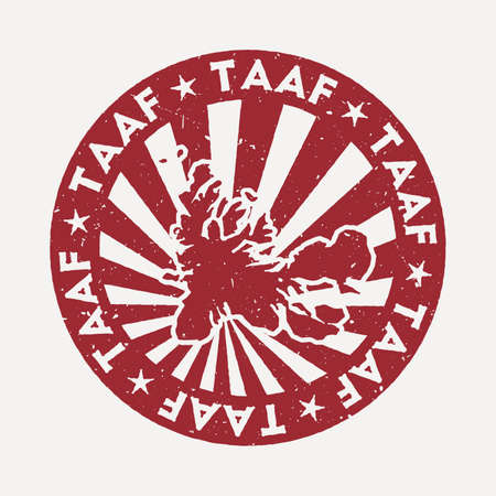 TAAF stamp. Travel red rubber stamp with the map of country, vector illustration. Can be used as insignia, logotype, label, sticker or badge of the TAAF.